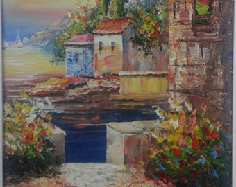Oil painting Europe Mediterranean landscape seascape boats ocean mountain houses