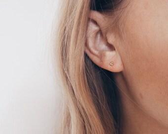 Tiny dainty gold earrings - Tiny gold studs - Dainty silver studs - Stud earrings - Tagur earrings - Cartilage studs - Minimalist earrings
