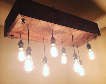 Wood box and Edison Bulb Light Chandelier, industrial, pendant,