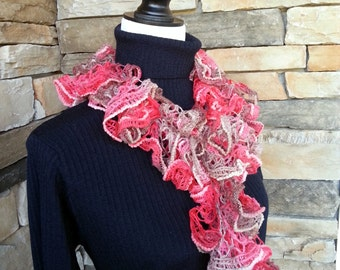 Crochet Ruffle Scarf,  Lace Scarf, Knit Scarf, Crochet Lace, Coral Scarf, Brown Scarf