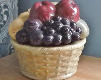 Handmade Ceramic FRUIT BASKET Lidded Cookie Jar Banana Apple Pear Plum Grape Peach