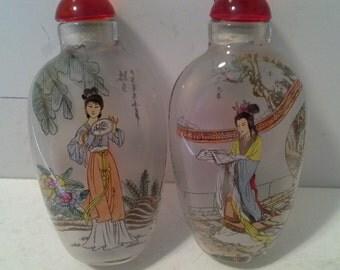 2 chinese ladies snuff bottles