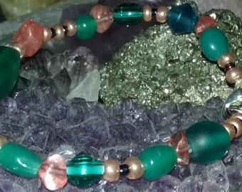 Blue Green Glass and Pink Cherry Quartz Bracelet