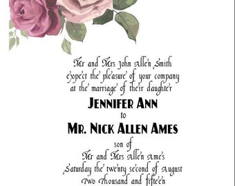 Illustrated Rose Portrait Wedding Invitation