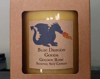 Golden Rose Natural Soy Candle, handmade, choose a size.