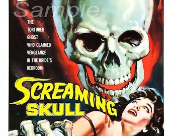 Vintage Screaming Skull Movie Poster Print