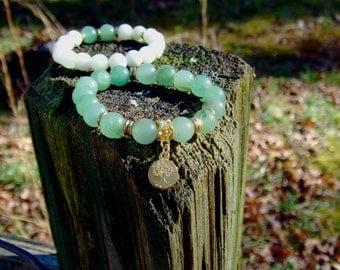 Green Aventurine & Jade Bead Bracelet Set w/Gold Tree of Life Charm Healing  Balancing Gemstones women's Men's Yoga Boho trendy