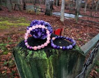 Amethyst, Purple Sea Jasper & Strawberry Quartz Beaded Bracelet Set Reiki Healing Chakra Balancing Gemstones Women's