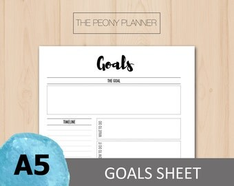 Printable | GOALS Planner Insert | A5 Size | Daily, Weekly, Monthly Goals and Resolutions | Filofax, Kikki K Planners