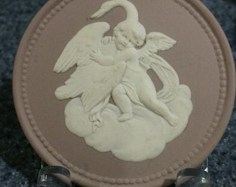 purple jasperware pendant, swan and child