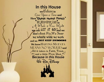 In this House We do Disney Wall Decal with Mickey Mouse Castle-Disney Wall Quotes-Wall Vinyl Decal-Wall Decor-Wall Art-Wall Words