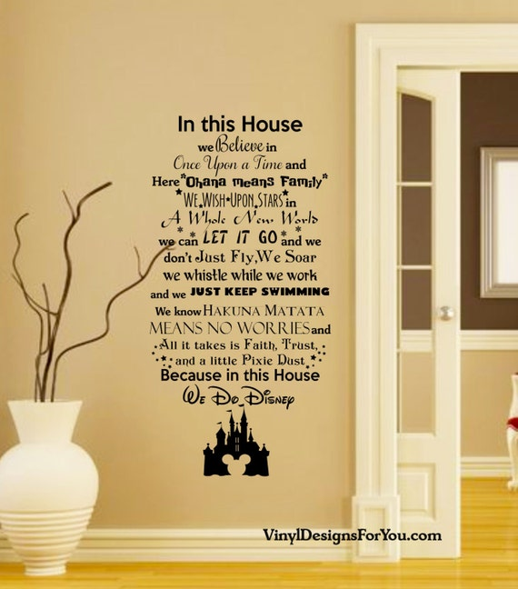 In this house we do disney wall decal with mickey mouse for Disney wall mural stickers
