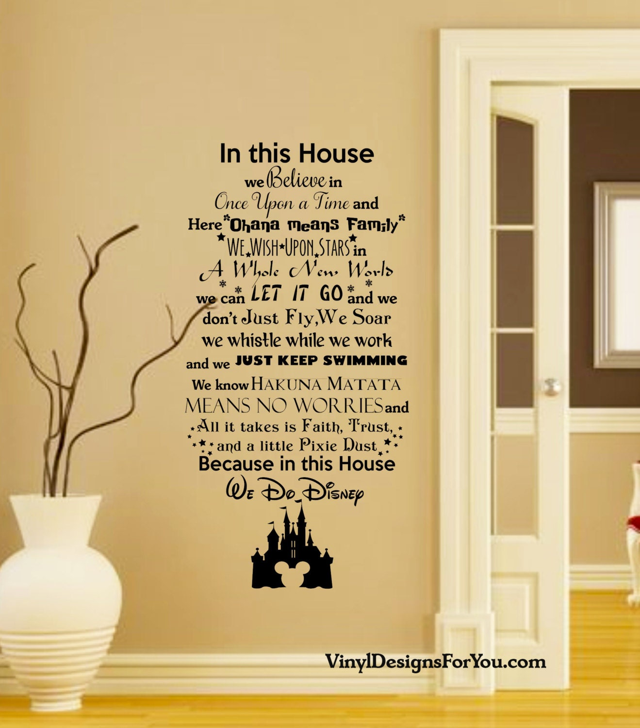 Disney Wall Decal  in this house we do disney wall decal with by vinyldesignsforyou with in