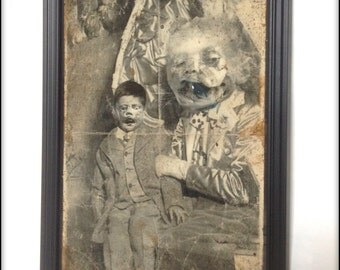 WTF creepy, weird aged reproduction picture of some very strange Victorian ventriloquism act.