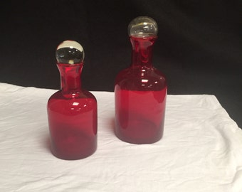 Set of 2 Red Glass Decanters