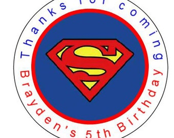 """12 - 2.5"""" Superman Birthday Stickers Labels Personalized Free shipping"""