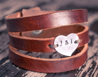 Leather Bracelet w/ Hand-Stamped Heart, Women's Leather Bracelet, Gift under 30, Gift for her, Custom Leather Cuff, Personalized Bracelet