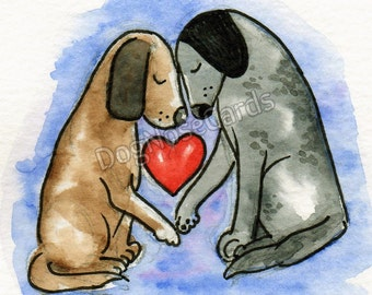 Valentine's Card for dog lovers. Hand-painted original. VB17