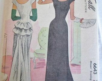 Vtg McCall Printed Pattern 6643, McCall Dress Pattern, McCall Evening Dress Pattern, NOS McCall Pattern