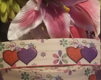 3 yards, 1' grosgrain ribbon heart design