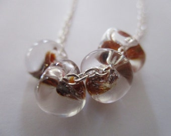 Glass Drop Necklace *  Boro Glass Drop Necklace * Contemporary Modern Jewelry * Clear and Bronze Glass Bead Necklace *
