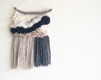 Navy and Neutral Weave - Woven Wall Hanging
