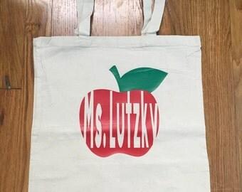 Back to school teacher bag! Teacher gift! Personalized bag! Canvas teacher bag! Apple bag! Teacher tote! Canvas teacher tote!