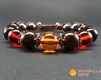 Dark amber jewelry Gemstone brown bracelet Beaded amber jewelry Brown amber bracelet Amber natural beads Gemstone women bracelet