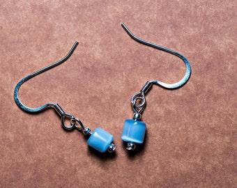 Blue Cats Eye Silver Earrings