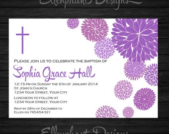 Purple Baptism Invitation, christening, first communion, confirmation, white, floral, flower, dahlia, custom invite, digital file, you print