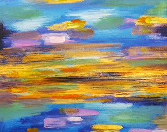 Colorful Abstract painting on canvas, blue, gold, lilac, purple, yellow, ochre, mint and violet.