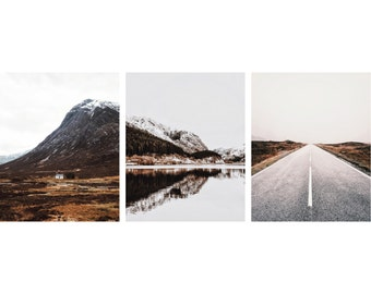 Landscape Photo Set - Road - Mountains - Water Reflection - Brown and White - Set of 3 - Vertical - Digital Photo Set - Digital Download