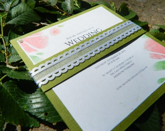 Handmade Green wedding invitation