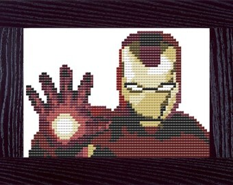 Iron Man Marvel Counted Cross Stitch Pattern - PDF - Instant Download
