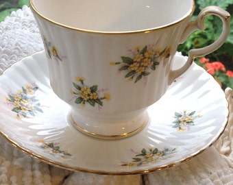 Royal Windsor Teacup and Saucer, 1960's fine bone china, high tea, yellow flowers teacup