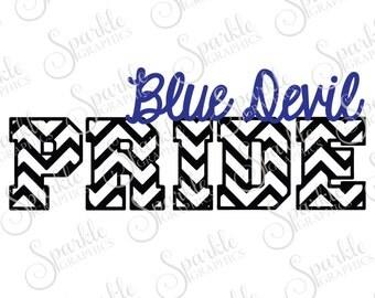 Blue Devil Pride Cut File Blue Devil High School Pride Wear Mascot Sports Clipart Svg Dxf Eps Png Silhouette Cricut Cut File Commercial Use