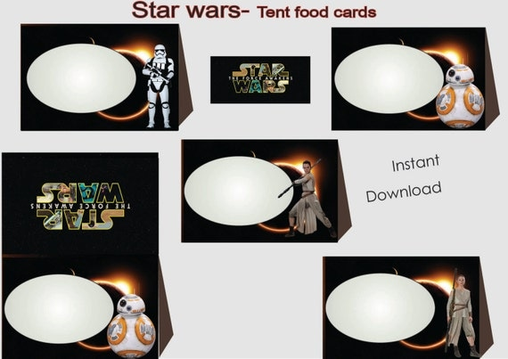 Star wars Food Labels Food Tents Cards Tags Star Wars Party