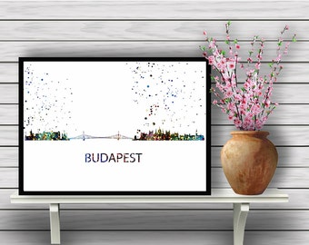 Budapest Skyline , Hungary, watercolor painting, poster, Budapest Wall Art,Hungary,Budapest Print,Budapest Art,City Print,Travel(02)