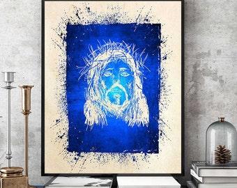 Jesus Print, Christian Print, Jesus Painting, Jesus Poster, Christian Poster, Christian Home Decor, Jesus With Crown Of Thorns (N546)