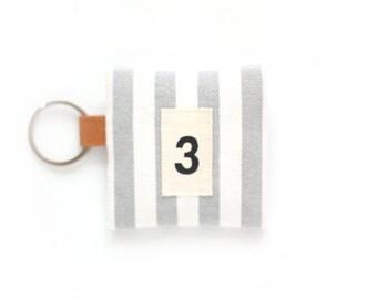 Coin Purse With Key Ring Zipper Handmade Stripe Coin Purse