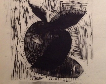 original limited edition woodcut print of apple