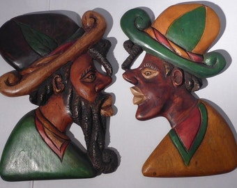 Jamaican Rasta Hand Carved Wooden Wall Hangings
