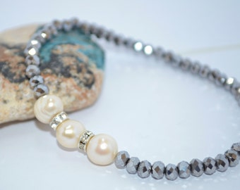 Delicate Natural Fresh Water Pearls Czech Glass Gemstone Beaded Bracelet, Bridesmaid gift