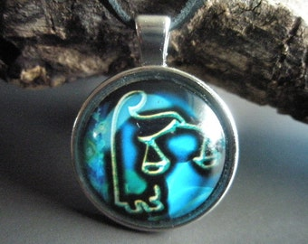 Libra zodiac pendant on leather