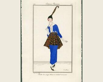 1914 Antique Pochoir Print - Journal Des Dames et des Modes - Costume Parisien, Pochoir Fashion Print Robe de Serge Bleue FREE SHIPPING