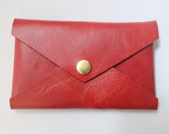 Card Wallet, Business Card Carrier, Card Holder, leather envelope, credit card holder, reclaimed leather - RED 306