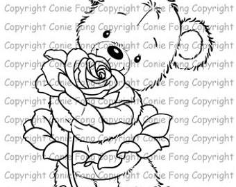 Digital Stamp, Digi Stamp, Digistamp, Bella With Rose by Conie Fong, Coloring Page, Teddy Bear, Love, Valentines, Get Well, Friendship