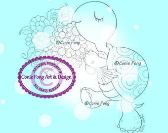 Digital Stamp, Digi Stamp, Digistamp, Pepper with Flowers by Conie Fong, Turtle, Flowers, Animal, Birthday, Get Well,  coloring page