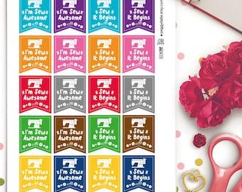 Sewing Planner Stickers |  Erin Condren | Life Planner | Kikki K | Filofax | Happy Planner | Puns | Funny | Flag | Crafts