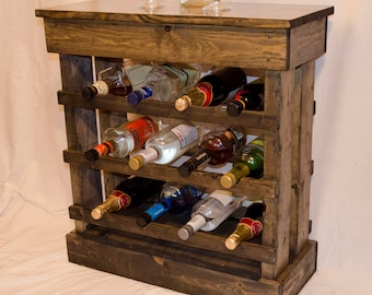 Rustic wine rack floor cabinet with light holds 12 bottles - weathered pine